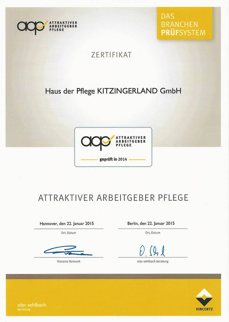 Attraktiver Arbeitgeber Pflege - Haus der Pflege Kitzingerland